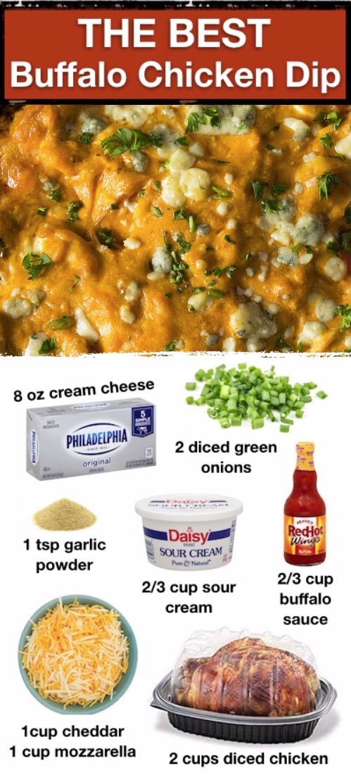 Looking for easy dip recipes for chips? This oven baked spicy buffalo chicken dip is a real crowd pleaser! Perfect for adult parties or as a snack at home, too. We like to serve this on footbal Sunday or any game day with tortilla chips. It's super quick and easy to make with simple ingredients including cream cheese, cheddar, mozzarella, sour cream, rotisserie chicken and buffalo sauce. How you go wrong with all that cheese? This is seriously the BEST appetizer idea for parties. #partyfood
