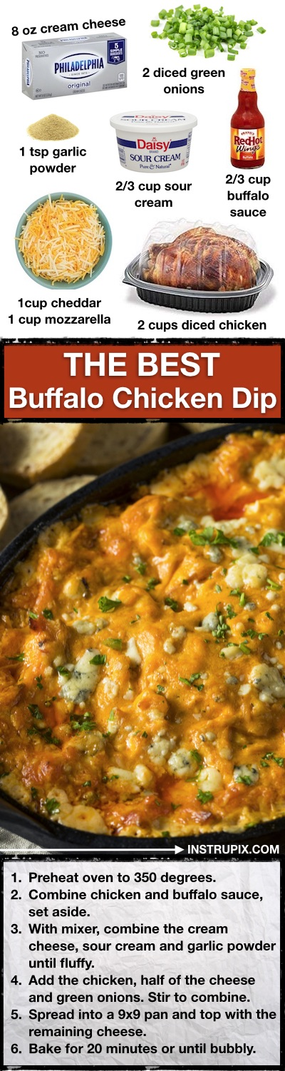 The BEST party appetizer dip, ever! Easy Buffalo Chicken Dip Recipe -- Make ahead, quick, simple and easy! Bake it in the oven in just 20 minutes. | Instrupix.com