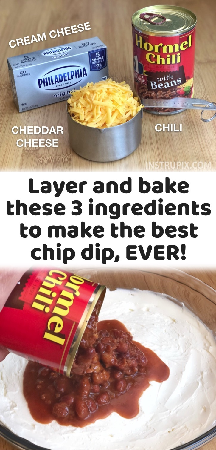 Easy Crowd Pleasers: This warm chili cheese chip dip is one of my favorite party appetizers because it's so darn yummy and simple to make with just 3 ingredients. It's seriously effortless. You just layer and bake a block of cream cheese, a can of chili and shredded cheddar cheese. The best party dip for tortilla chips or Fritos! It's cheap to make and you can make ahead the layers, and then just pop it in the oven when you're ready to serve it. Perfect for any special occasion, game day and super bowl Sunday.