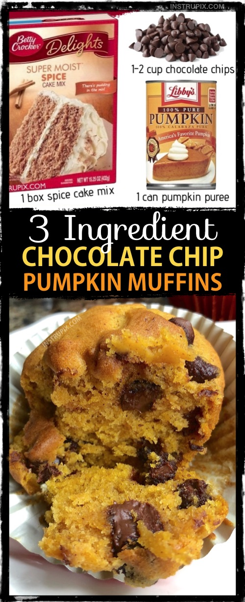 3 Ingredient Chocolate Chip Pumpkin Muffins Recipe made with spice cake mix! A quick and easy fall and halloween treat idea. #fallfood #instrupix #cakemixrecipes #halloween