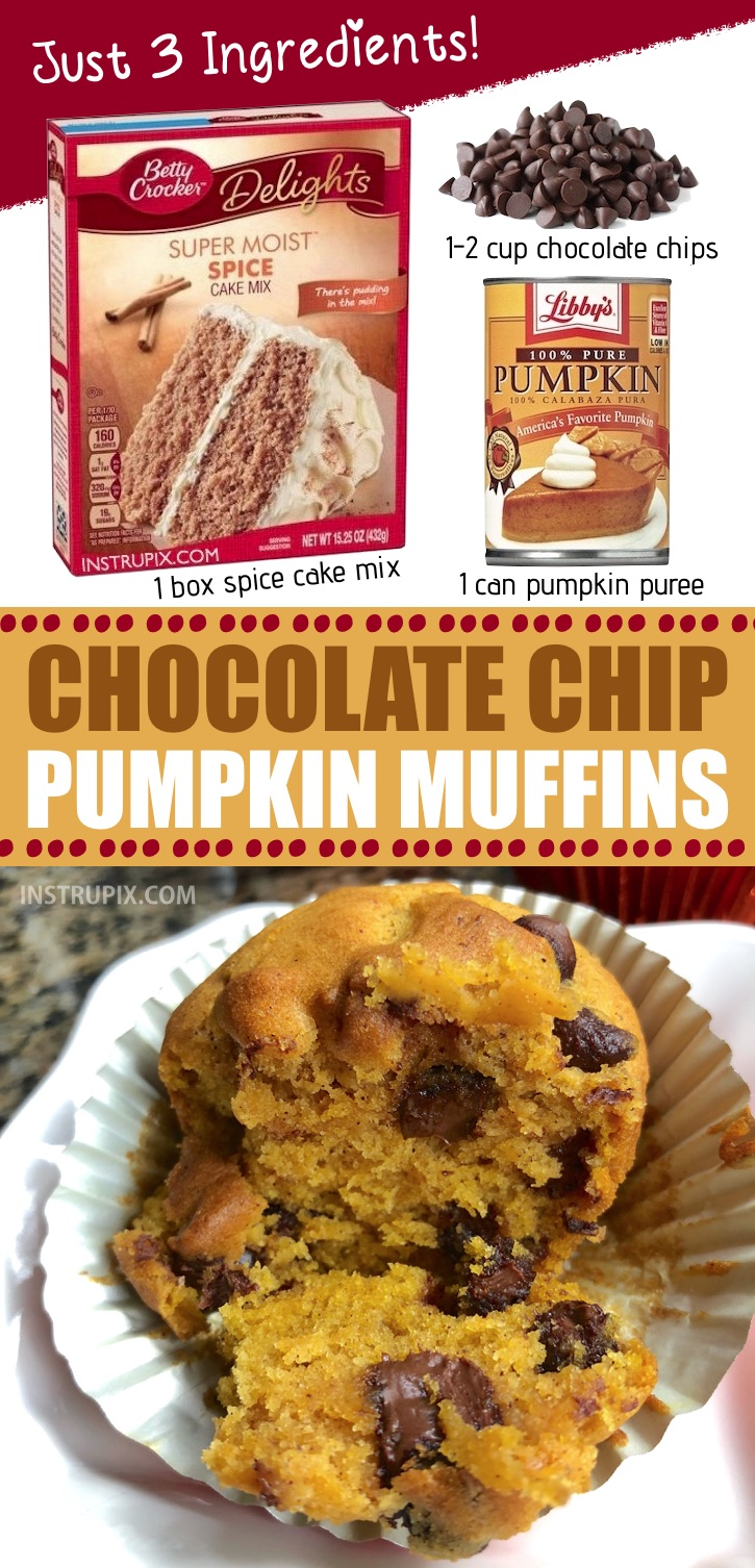 YUM!! My favorite quick and easy Fall treat! These chocolate chip pumpkin muffins are made with just 3 ingredients! Spice cake mix is the secret. Try spreading a little cream cheese on top! SO GOOD! | Instrupix