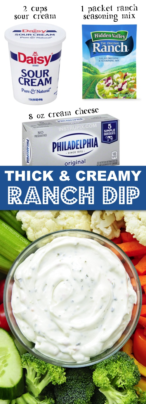 The BEST thick ranch dip for chips and veggies! This quick and easy homemade recipe is made with just 3 ingredients: cream cheese, sour cream and a Hidden Valley Ranch packet. | Instrupix