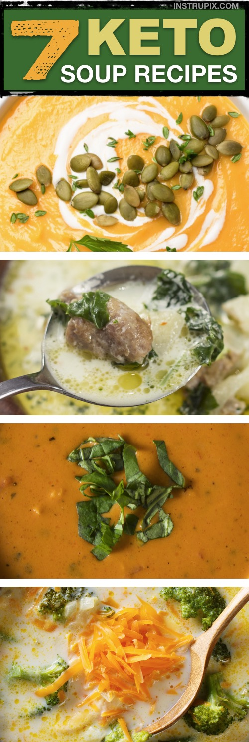 Easy Low Carb Keto Soup Recipes -- all made with simple ingredients. Quick and easy recipes anyone can make. | Instrupix