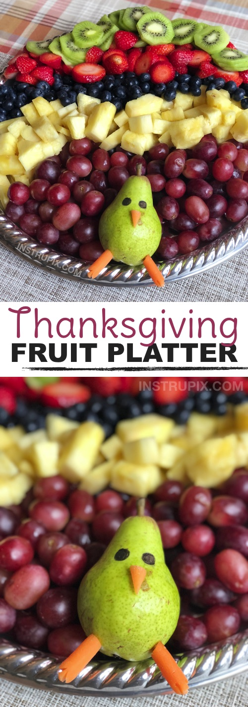 Thanksgiving Idea: How to make a fun and easy fruit tray! Great for hosting a party! This turkey fruit platter appetizer is always a hit. It's a beautiful table display for parties and holiday gatherings! Kids love it. | Instrupix