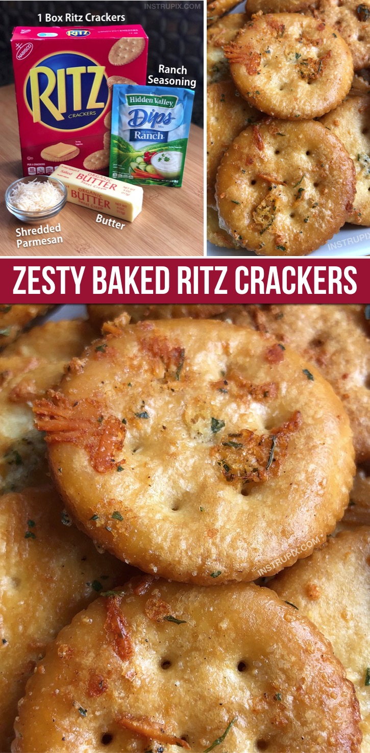 Zesty Baked Ritz Crackers (made with butter, ranch seasoning mix and parmesan). These are a family favorite snack idea, the kids love them. They are also great as a party appetizer served with cheese or deli meat. #funsnacks #ritz #instrupix