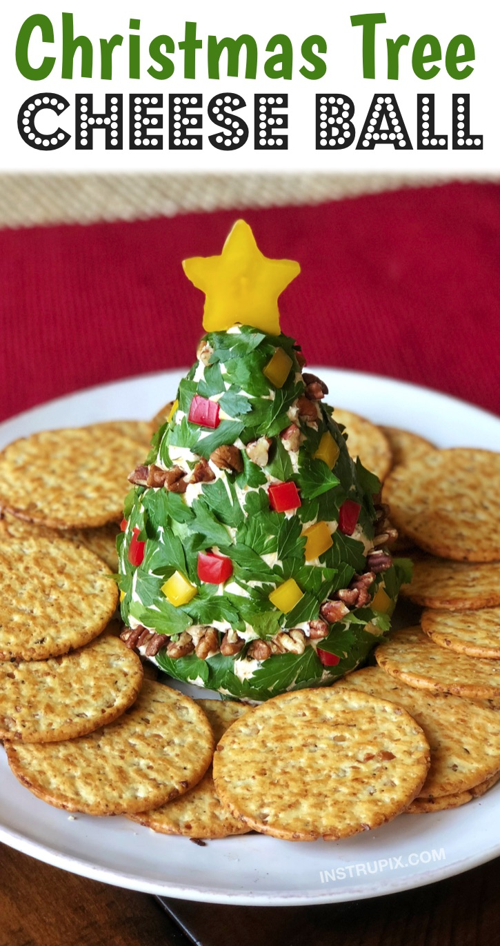 Looking for easy Christmas appetizers and finger foods? Check out these simple make ahead, no bake cold party appetizers for the holidays! They are perfect for feeding a crowd or large family. They are all fun and impressive but super quick and easy to make ahead of time. Christmas Tree Cheese Ball #christmas #partyfood #instrupix