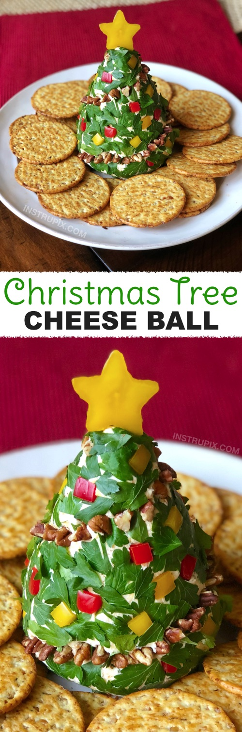 3 Easy Make-Ahead Christmas Appetizers | Christmas Tree Cheese Ball! My favorite simple Christmas appetizers and finger food snacks that can be made ahead of time and perfect for feeding a crowd! Great recipes for a family or holiday party! | Instrupix