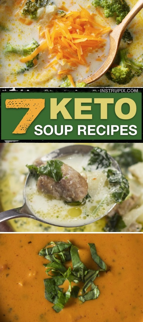 Easy Low Carb Keto Soup Recipes for Fat Burning -- all made with simple and budget friendly ingredients-- Chicken, sausage and ground beef recipes for crock pots and stove top. Quick and easy keto recipes for beginners! Keto meal prep dinner for the week with these healthy keto soup recipes. | Instrupix #keto #ketosoup #lowcarb #ketodinners