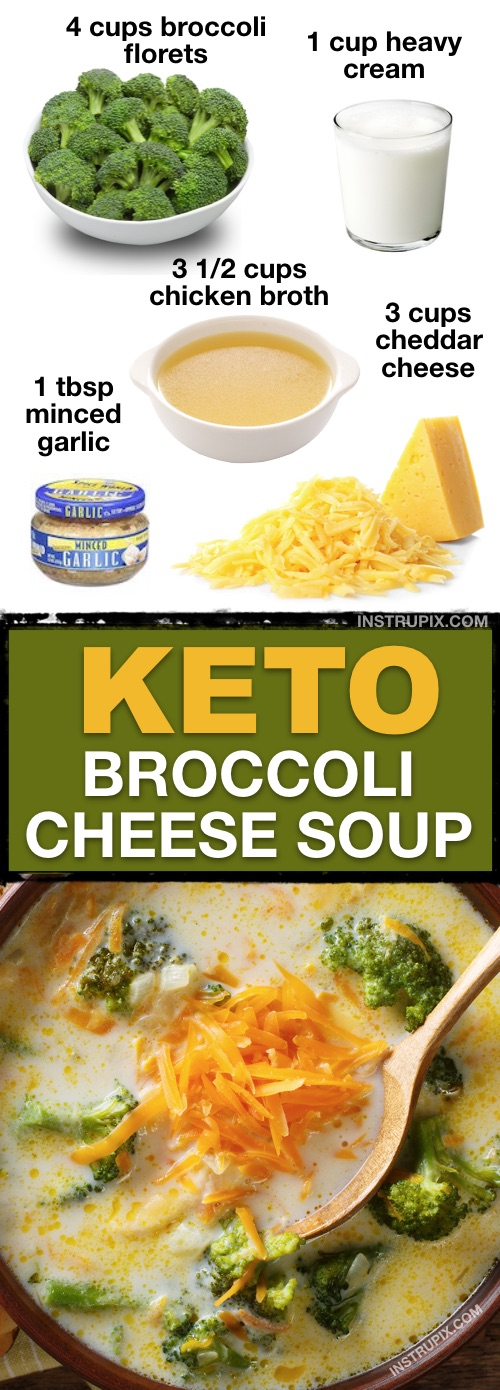 7 Easy Low Carb Soup Recipes (Keto Friendly!) | This low carb gluten free broccoli cheese soup is the BEST! It's quick and easy, and great for left overs. | Instrupix