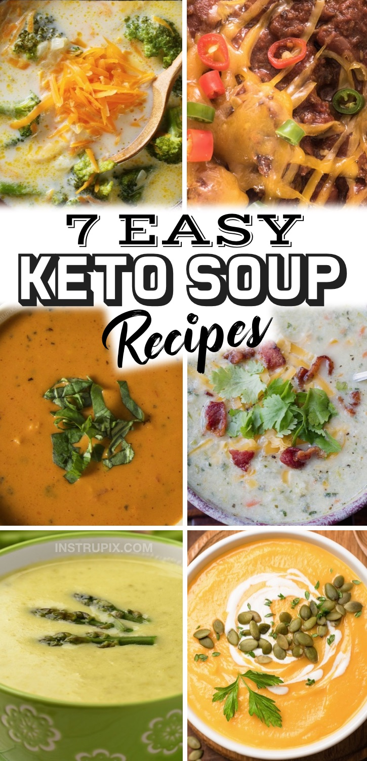 7 Quick & Easy Keto Soup Recipes | Looking for simple low carb dinner recipes? You can't go wrong with these healthy soup recipes! They are a must have if you are on a keto diet and like to meal plan for the week. They are just as good leftover and are easy to freeze for later. Most of these recipes are made with just a few ingredients and they are perfect for busy weeknight dinners. Everything from vegetarian broccoli cheese and dairy free ground beef chili to sausage and bacon loaded soups!