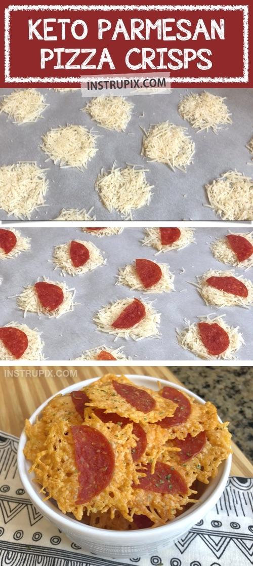 Easy keto and low carb snack ideas on the go -- These keto pizza chips are THE BOMB! The best keto snack recipe made with just 2 ingredients: parmesan and pepperoni. Yum! Perfect for work or school when you're having salt cravings. #instrupix