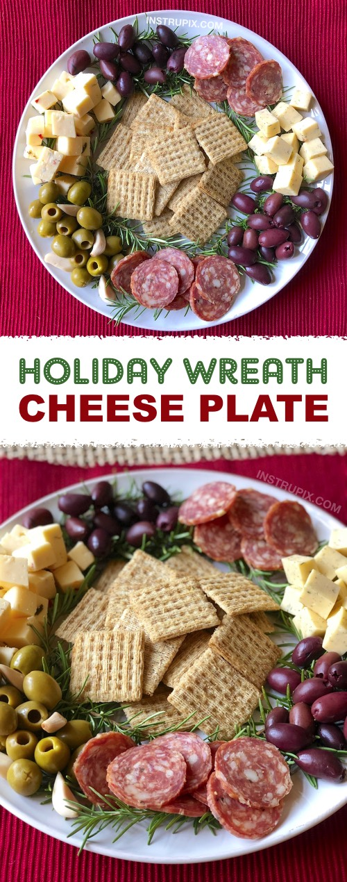 3 Easy Make-Ahead Christmas Appetizers | Holiday Wreath Cheese Platter made with rosemary! My favorite simple Christmas appetizers and finger food snacks that can be made ahead of time and perfect for feeding a crowd! Great recipes for a family or holiday party! | Instrupix