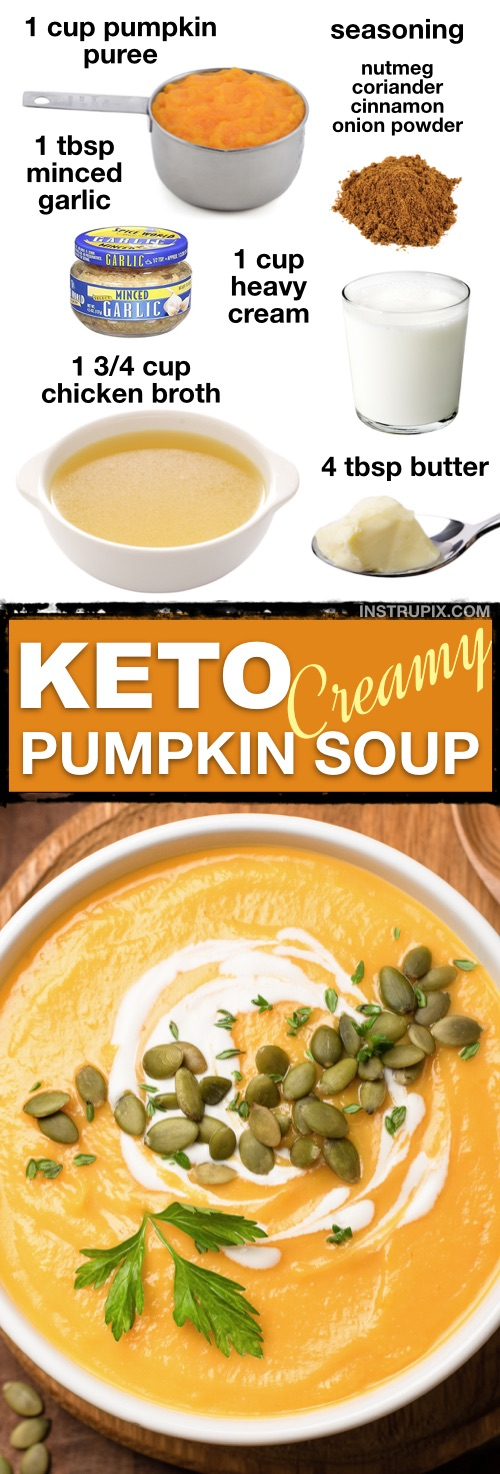 7 Easy Low Carb Soup Recipes (Keto Friendly!) | This creamy low carb pumpkin soup is ketogenic and so comforting! Delicious leftover too! | Instrupix