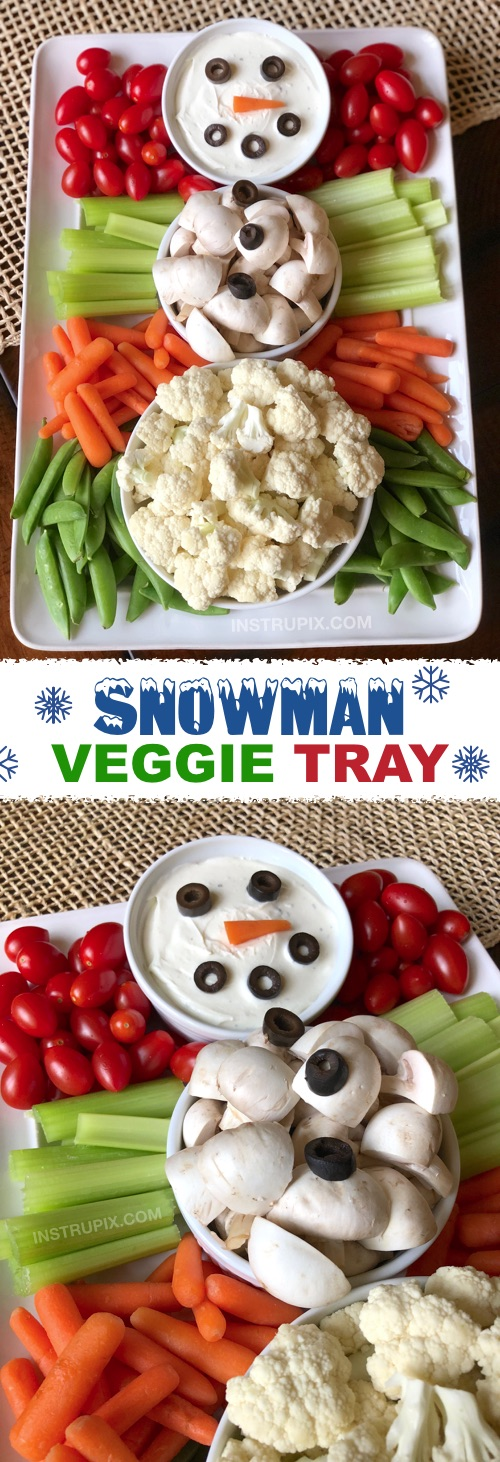3 Easy Make-Ahead Christmas Appetizers | Snowman Veggie Tray! My favorite simple Christmas appetizers and finger food snacks that can be made ahead of time and perfect for feeding a crowd! Great recipes for a family or holiday party! | Instrupix