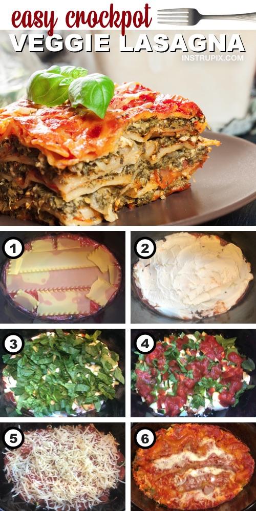 Super Easy Crockpot Veggie Lasagna