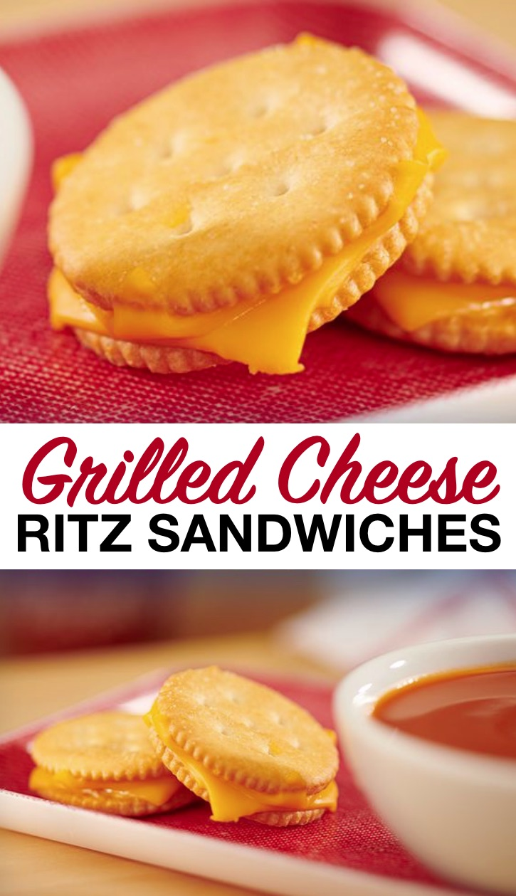 quick and easy fun snack ideas for kids! Creative Ritz cracker grilled cheese sandwiches. Great for tomato soup! Toddlers, kids and teens love this cheesy salty snack idea. Just 2 ingredients! So simple to make for after school.