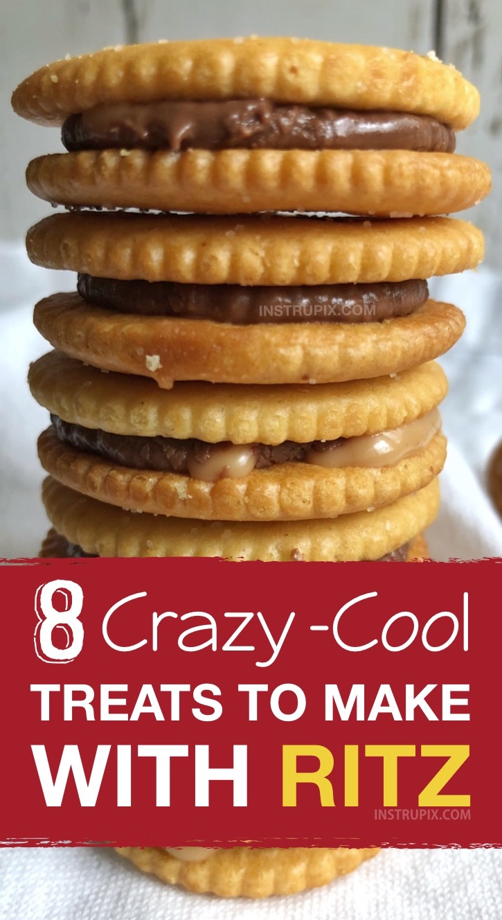 Easy and fun snack and treat ideas made with Ritz crackers! These Ritz cracker recipes are perfect for making treats, snacks, sandwiches and even pizza! Quick and easy snack ideas for kids. #ritz #snacks #treats #instrupix #kidssnacks #easyrecipes
