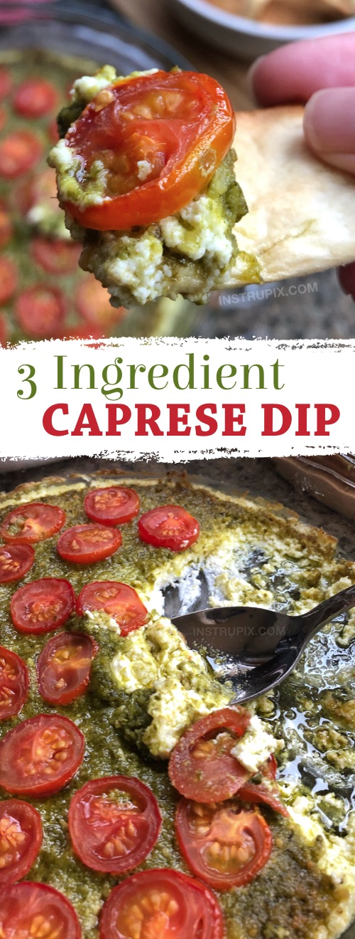 OMG, SO GOOD!! This easy appetizer dip for a party is a real crowd pleaser! Just 3 ingredients! It's perfect served with pita chips, bread or crackers. | Warm Caprese Cheese Dip Recipe from Instrupix.com #instrupix #appetizers #diprecipes #partyfood #caprese #basilpesto #creamcheese