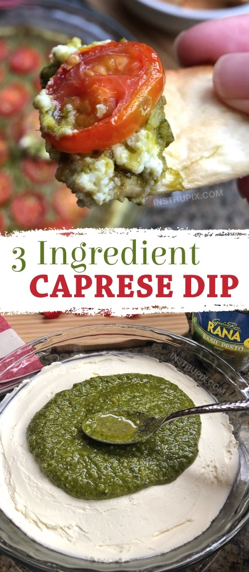 SO GOOD!! This easy appetizer dip for a party is a real crowd pleaser! Just 3 ingredients! It's perfect served with pita chips, bread or crackers. | Warm Caprese Cheese Dip Recipe from Instrupix.com #instrupix #appetizers #diprecipes #partyfood #caprese #basilpesto #creamcheese