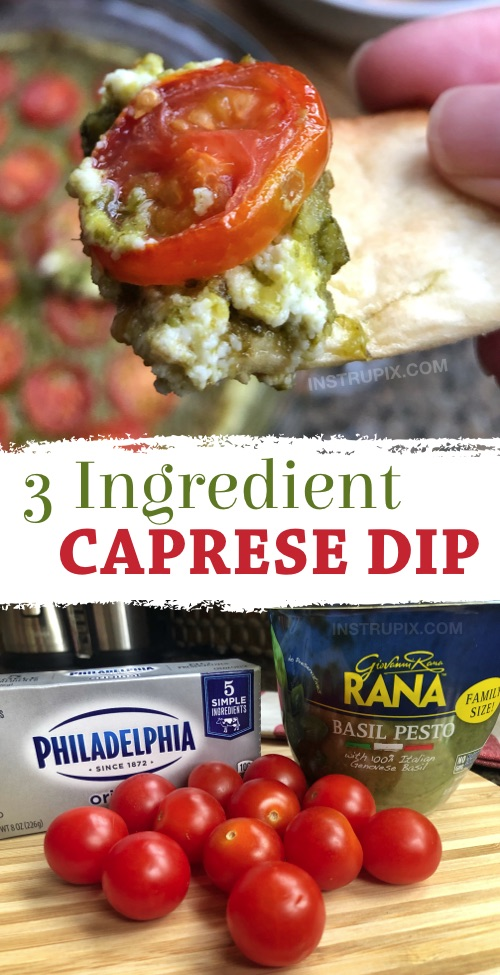 Looking for easy crowd pleasers? This quick and easy party dip appetizer is made with just 3 ingredients! Cream cheese, pesto and tomatoes. This simple dip is always a hit at parties! Serve it with pita chips or baguette slices. Great for a party or small get-togethers. You can make it ahead and then pop it in the oven. #instrupix