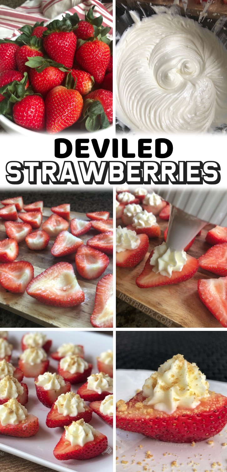 A fun and easy party food idea! These cheesecake stuffed strawberries won't last more than 5 minutes! They're a hit at any party. If you like strawberry cheesecake, then you are going to go bonkers over these darling strawberries stuffed with an irresistible sweet cream cheese filling, and then topped with crushed graham crackers. They make for a delightful party food display, and trust me, they'll be the first thing to disappear. They are a fabulous dessert for any celebration!