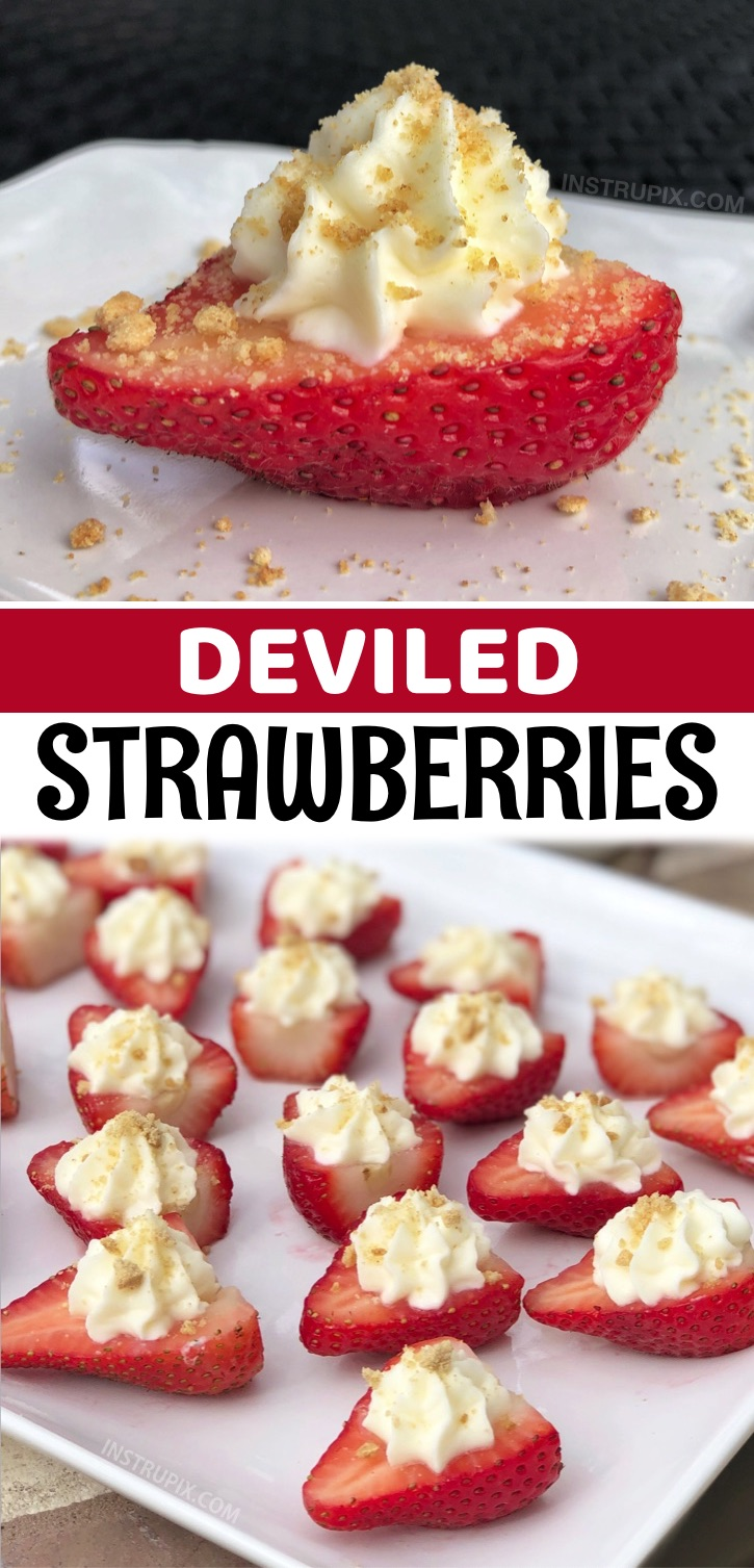 Deviled Strawberries - If you like strawberry cheesecake, then you are going to go bonkers over these darling deviled strawberries stuffed with an irresistible sweet cream cheese filling, and then topped with crushed graham crackers. They make for a delightful party food display, and trust me, they'll be the first thing to disappear. They are a fabulous treat for 4th of July, Valentine's Day, birthday parties, girl's night in, game day, BBQ's, potlucks, Christmas or any other celebration.