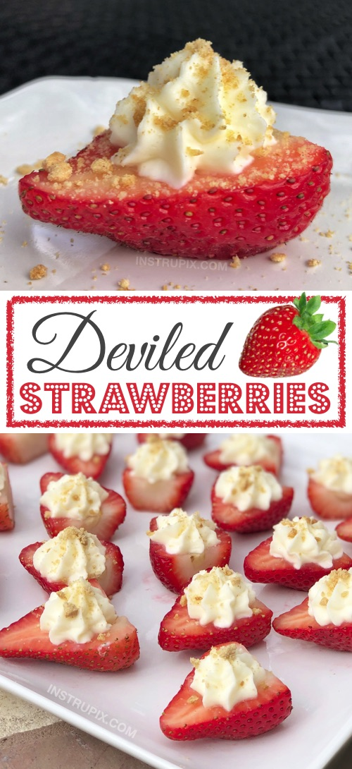 OMG!! Made with a sweet cream cheese filling! - The BEST finger food, sweet snack and party idea for a crowd! This quick, easy and fun appetizer idea is also perfect for Valentine's Day! Kids and adults love them. | Deviled Strawberries Recipe #instrupix #partyfood #strawberries #cheesecake #creamcheese #valentinesday #dessert #sweettooth