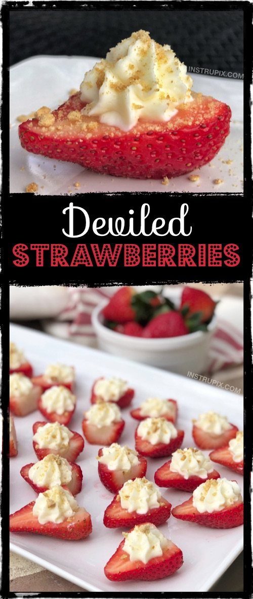 Easy party food idea for a crowd. Super cheap and quick to make. Always a hit! Deviled Strawberries Recipe made with cream cheese. #instrupix #partyfood #strawberries