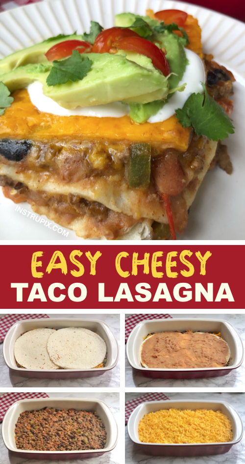 Easy weeknight meal the entire family will love! Taco Lasagna. It's super quick and fun to make, even the kids love it! If you are looking for easy meals that aren't boring, this is it. #instrupix