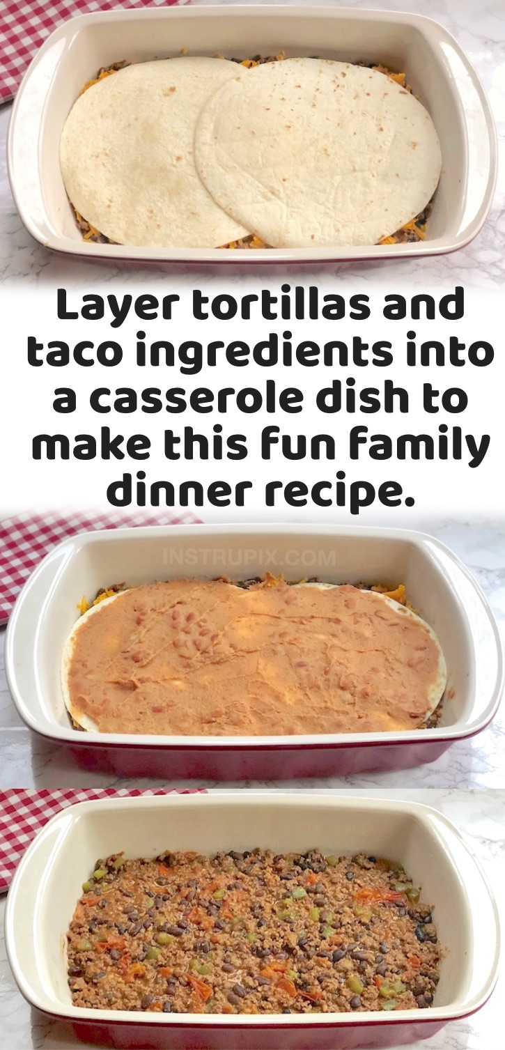 Quick & Easy Family Dinner Recipes | If you're trying to feed a family with picky kids, you've got to try this fun and unique recipe! Everyone loves burritos and tacos, so not why not layer all of the simple & cheap ingredients into a casserole dish and make it into a Mexican inspired lasagna! I just use flour tortillas, ground beef, refried beans, shredded cheese, peppers, onions and seasoning. Then you can top it with anything you'd like such as avocado, sour cream and cilantro. So yummy!