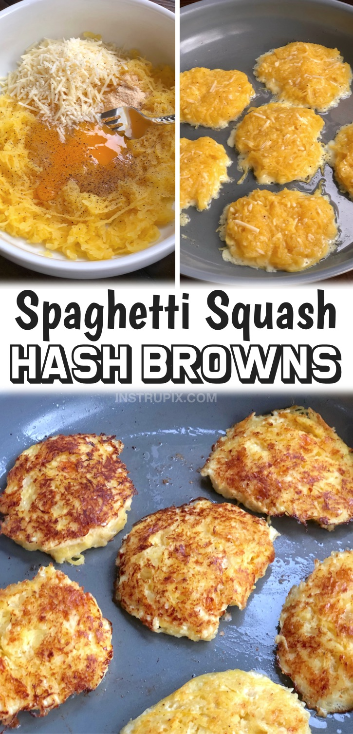 Quick, easy and clean eating! These low carb breakfast hash browns are made with just a few simple ingredients including spaghetti squash, egg and cheese. They are loaded with protein and fiber! I make these often with leftover spaghetti squash, and I immediately get my veggies in for the day. If you're trying to find healthy breakfast recipes, these