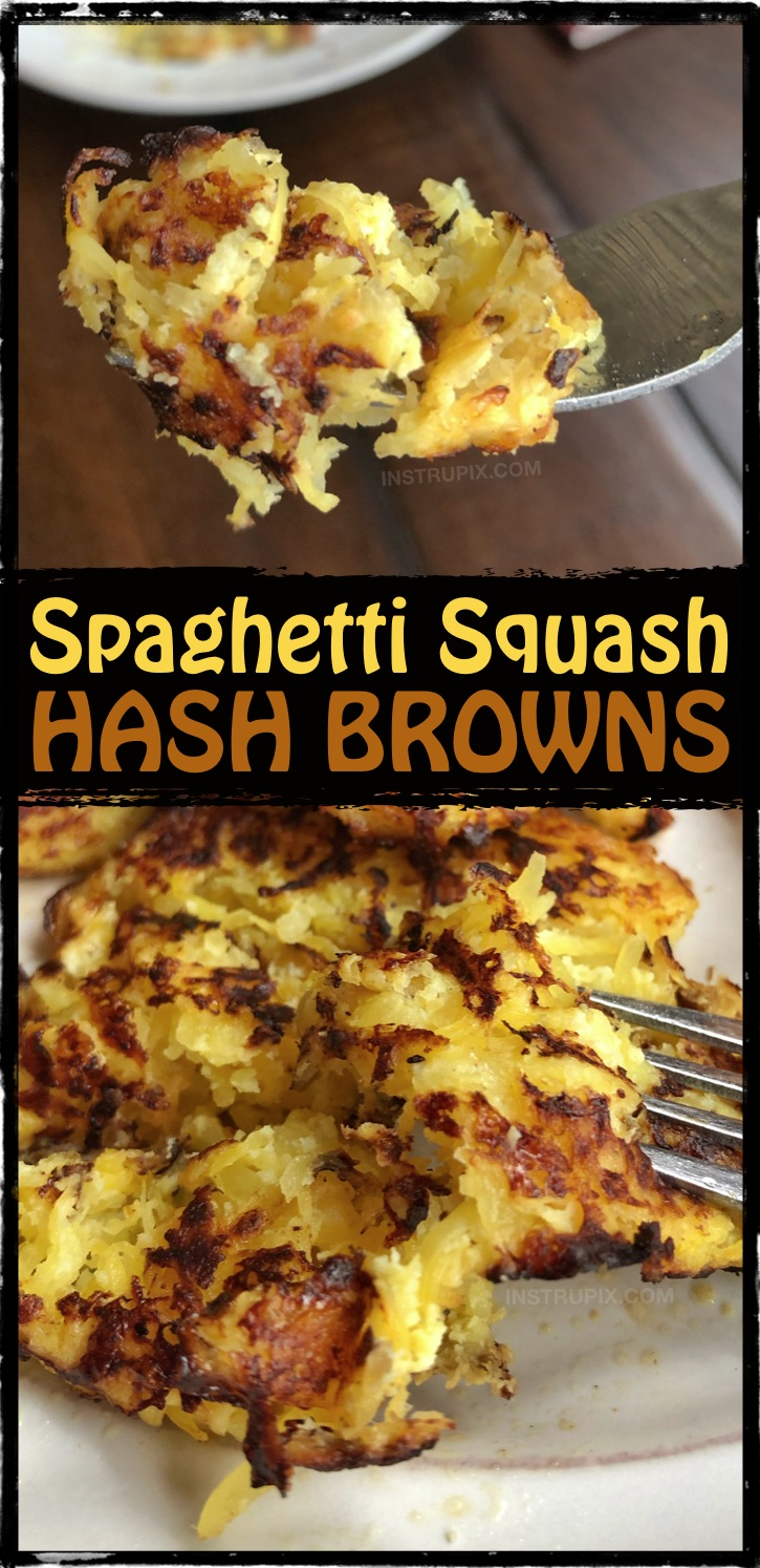 LOW CARB breakfast idea! Looking for easy and healthy spaghetti squash recipes? This one is great for the leftover squash! Spaghetti Squash Hash Browns Recipe - Low carb and keto friendly! #instrupix #lowcarb #keto #spaghettisquash