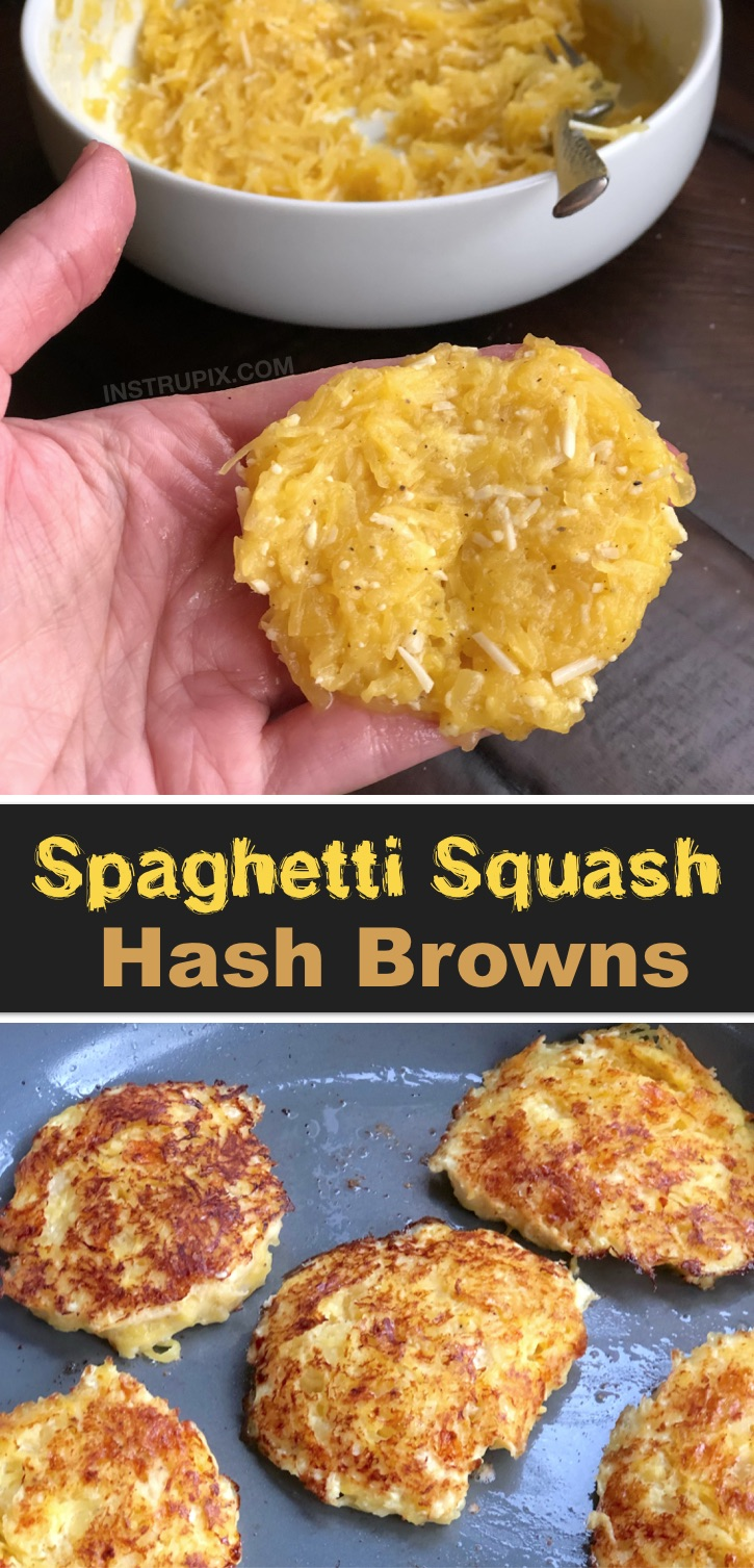 Looking for low carb healthy breakfast recipes other than just eggs? These spaghetti squash hash browns are incredibly quick and easy to make with just a few ingredients: spaghetti squash, egg, parmesan and seasoning to taste. So simple! I make these whenever I have any leftover squash. You just saute them like a patty until they are nice and crispy on the outside. Serve with bacon, sausage or scrambled eggs. A yummy potato alternative for breakfast.