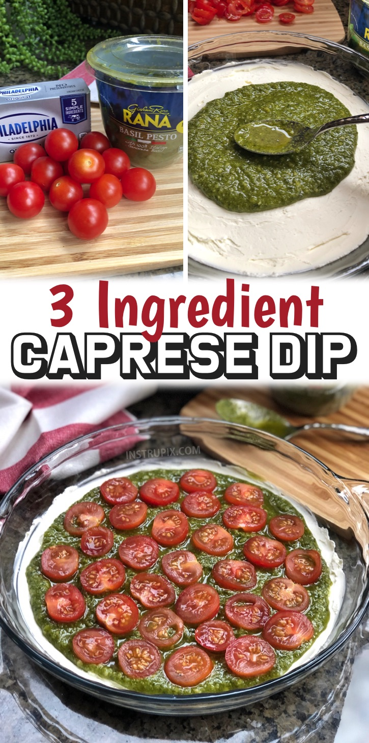 Party Food Ideas -- Quick and easy 3 ingredient caprese dip! You're going to love this simple and cheap party appetizer. It's made with just a few ingredients: cream cheese, pesto and diced tomatoes. The best dip for a crowd served with pita chips! You can make it ahead and then just pop it in the oven when you're ready to serve. It's a great last minute party appetizer or snack idea for family gatherings. Great for adults entertaining for just about any occasion like birthdays and holidays.