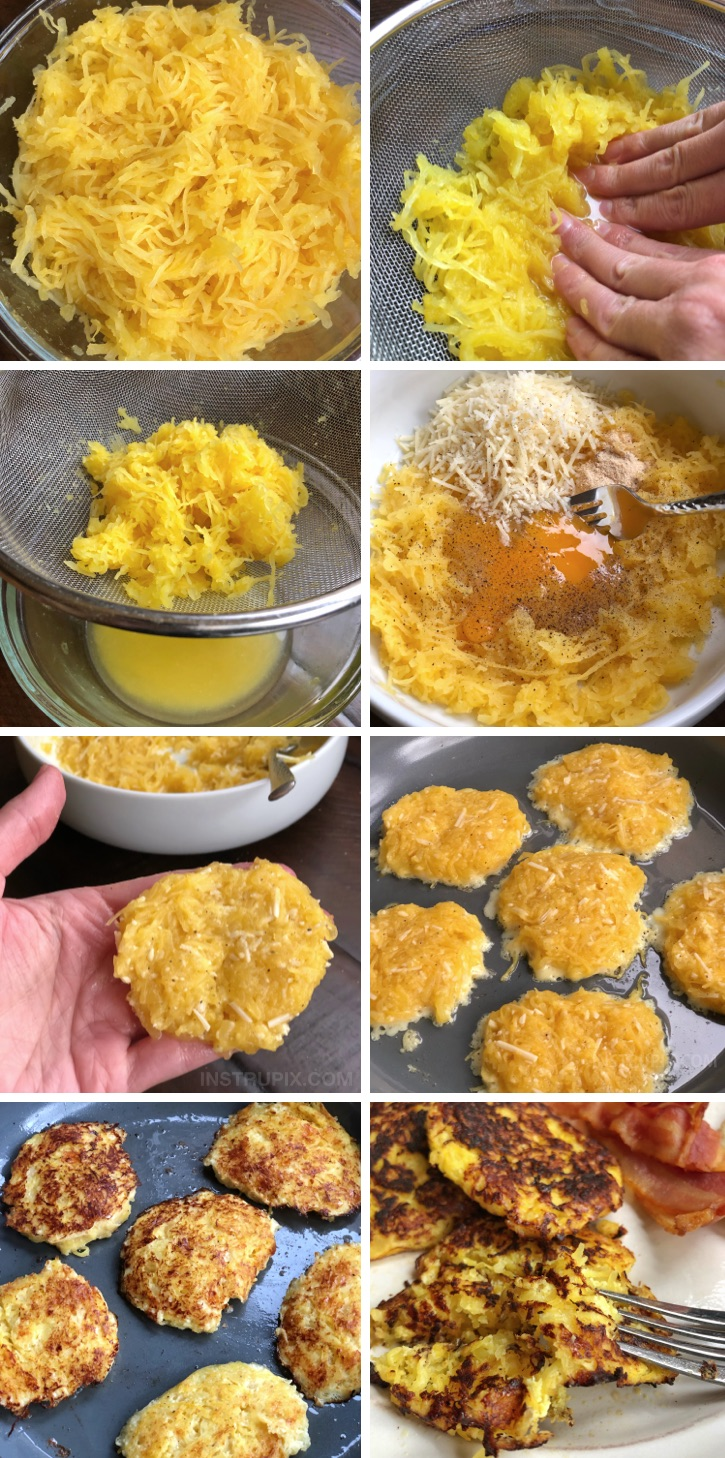 Spaghetti Squash Hash Browns Recipe - Looking for easy and healthy spaghetti squash recipes? This one is great for the leftover squash! Low carb and keto friendly! #instrupix #lowcarb #keto #spaghettisquash
