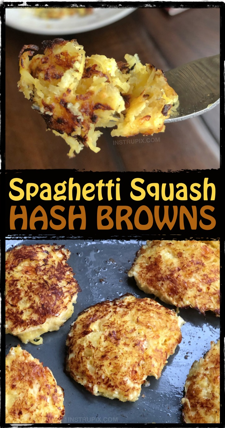 Looking for easy and healthy spaghetti squash recipes? This one is great for the leftover squash! Spaghetti Squash Hash Browns Recipe - Low carb and keto friendly! #instrupix #lowcarb #keto #spaghettisquash