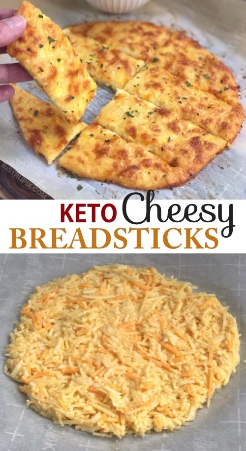4 Ingredient KETO Cheesy Garlic Breadsticks Recipe | Looking for low carb snacks? This quick and easy keto recipe is great for beginners, and always a hit. It's a great snack, salad or soup companion, or even meal! And it's almost zero carb! #keto #lowcarb #atkins #cheese #instrupix