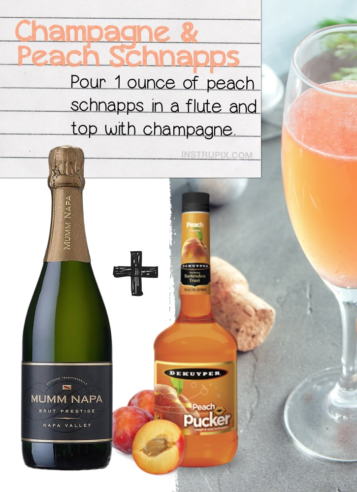 Champagne and Peach Schnapps | 8 Ways You Didn't Know You Could Drink Wine- to make it better, colder or more flavorful. Simple tips and tricks including wine cubes, spritzers, frozen fruit, cocktails, drink recipes and more! #instrupix #lifehacks #wine #drinkrecipes #mindblown