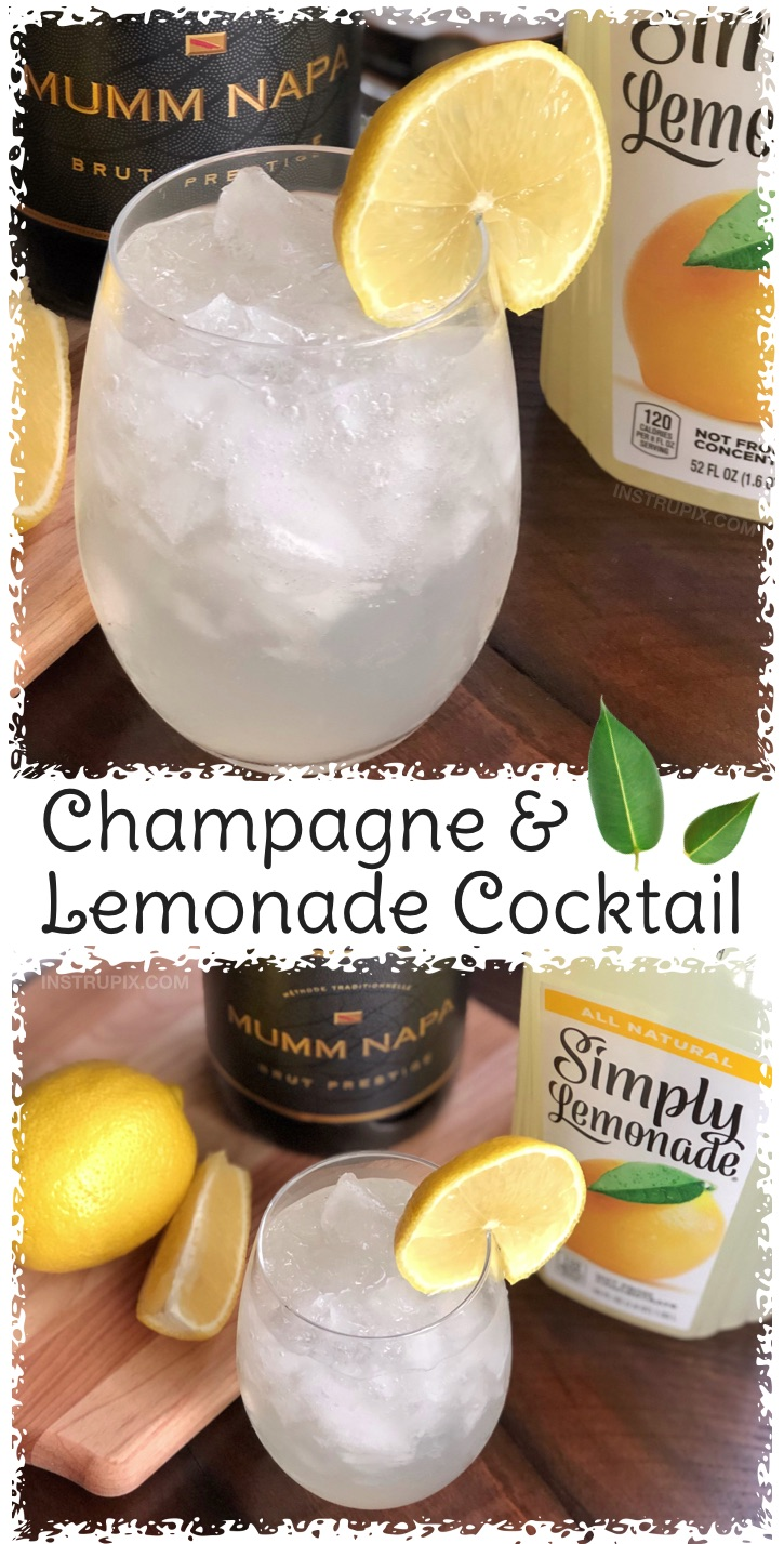 Champagne and Lemonade Cocktail Recipe | 8 Ways You Didn't Know You Could Drink Wine- to make it better, colder or more flavorful. Simple tips and tricks including wine cubes, spritzers, frozen fruit, cocktails, drink recipes and more! #instrupix #lifehacks #wine #drinkrecipes #mindblown