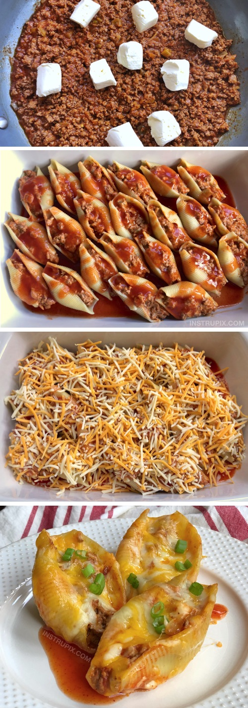 Taco Stuffed Shells Recipe (a Mexican inspired dinner idea). Cheap and easy dinner recipe for the family! Great for kids and picky eaters. This budget friendly main dish is always a hit! Made with ground beef, cream cheese, pasta shells and sauce. Super quick and simple to make! #maindish #dinnerideas #tacostuffedshells #instrupix