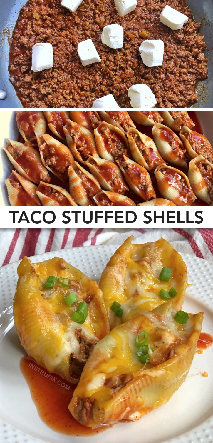 Looking for quick and easy dinner recipes that the entire family will love? This unique main dish is perfect for kids, husbands and picky eaters! Pasta shells stuffed with ground beef, cream cheese and enchilada sauce. Delish! This simple and cheap weeknight meal with ground beef will soon be a family favorite. It's made with basic and budget friendly ingredients. Calling all busy moms and dads! Add this easy dinner recipe to your weekly rotation. #easydinnerideas #instrupix