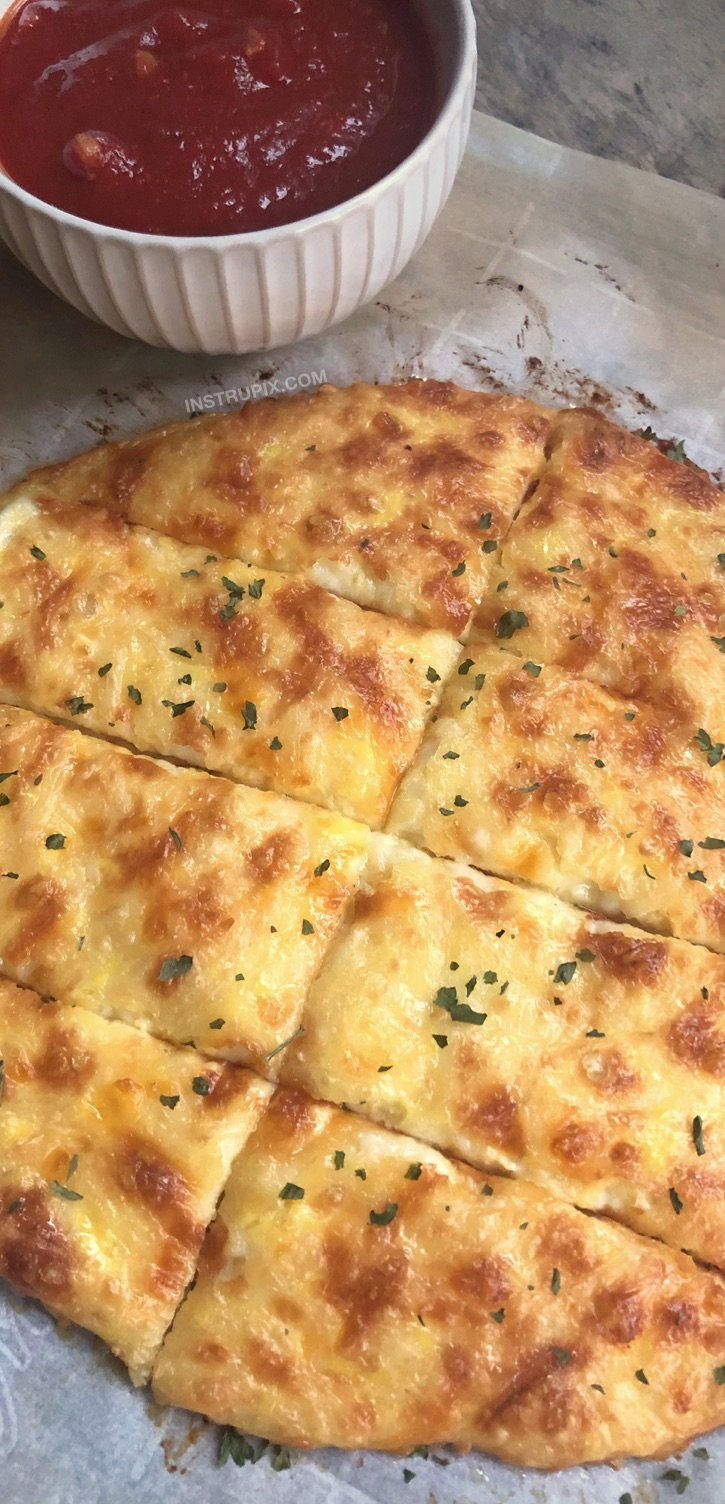 Easy KETO Cheesy Garlic Breadsticks Recipe - Just 4 simple ingredients! Looking for low carb snacks? This quick and easy keto recipe is great for beginners, and always a hit. It's a great snack, salad or soup companion, or even meal! And it's almost zero carb! #keto #lowcarb #atkins #cheese #instrupix