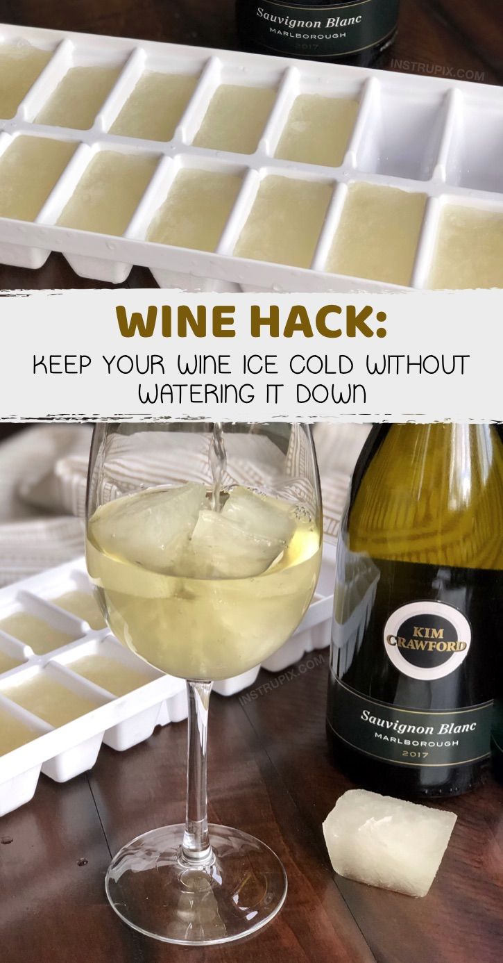 Wine Hacks: 8 Ways You Didn't Know You Could Drink Wine- to make it better, colder or more flavorful. Simple tips and tricks including wine cubes, spritzers, frozen fruit, cocktails, drink recipes and more! #instrupix #lifehacks #wine #drinkrecipes #mindblown