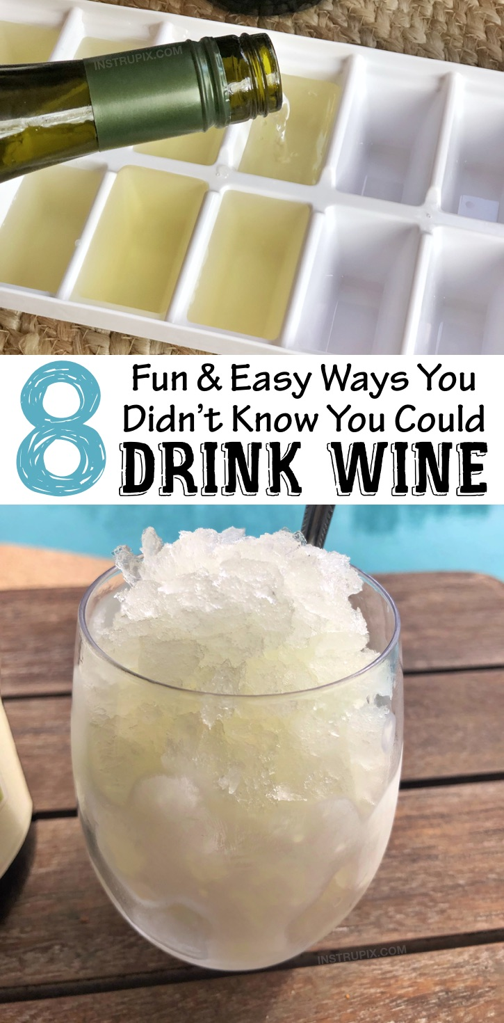 Wine Hacks: 8 Ways to make wine better, colder or more flavorful. Simple tips and tricks including wine cubes, spritzers, frozen fruit, cocktails, drink recipes and more! #instrupix #lifehacks #wine #drinkrecipes #mindblown