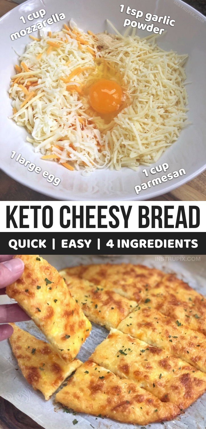 Looking for quick and easy keto recipes for beginners? These cheesy garlic breadsticks are low carb and made with just 4 simple ingredients: mozzarella, parmesan, an egg and garlic powder. This is THE BEST keto comfort food! Serve it as a snack or as a side dish to any keto meal. These are delicious served with a healthy soup or salad. My favorite low carb snack of all time! If you're on a ketogenic or low carb diet, add this simple keto bread recipe to your meal plan. #keto #lowcarb #instrupix