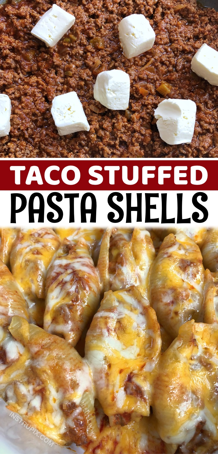 Mexican Taco Stuffed Pasta Shells - If your family struggles to find dinner ideas that everyone can agree on, then this recipe is for you! The kids and adults will be equally pleased. It's not only delicious, it's also cheap and easy to make. You can customize it to your own liking, but the main ingredients are simple: pasta shells, ground beef, sauce, cream cheese, and shredded cheese. Bake, eat and voila! Everyone is full and happy. This Mexican inspired recipe is also quite unique, combing taco ingredients with pasta.