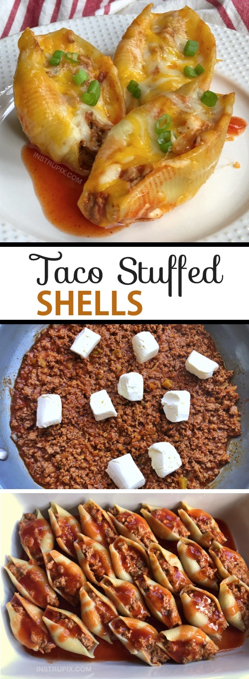 Cheap and easy dinner recipe for the family! Great for kids and picky eaters. This budget friendly main dish is always a hit! Made with ground beef, cream cheese, pasta shells and sauce. Super quick and simple to make! Taco Stuffed Shells Recipe (a Mexican inspired dinner idea) #maindish #dinnerideas #tacostuffedshells #instrupix
