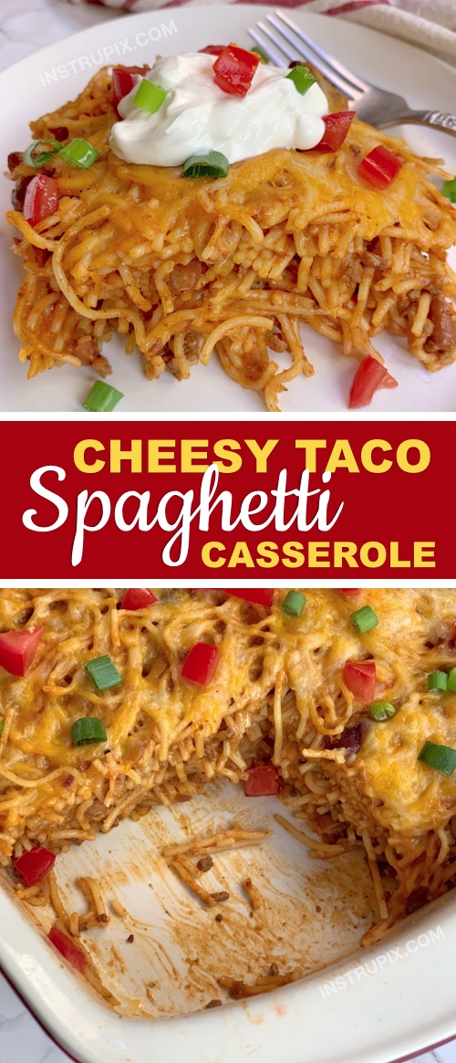 Looking for quick and easy dinner ideas made with ground beef? This Mexican casserole recipe is made with cheap and simple ingredients! It's perfect for the family. Kids love it! The ultimate comfort food for busy weeknights: Cheesy Taco Spaghetti Casserole | Instrupix #instrupix #dinnerrecipes #dinnercasseroles #bakedspaghetti