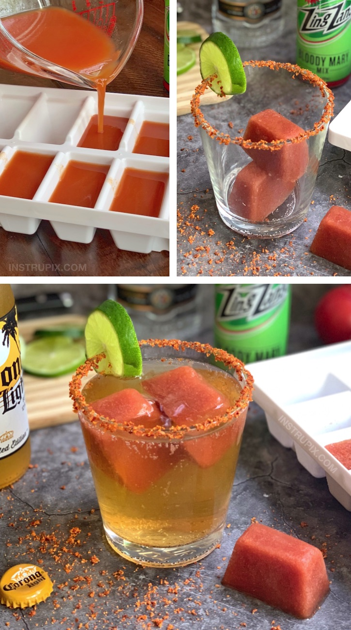 Bloody Mary Cubes and Beer (plus 4 more cocktail cube ideas) | A tasty and fun drink idea! #instrupix #bloodymary #drinkrecipes