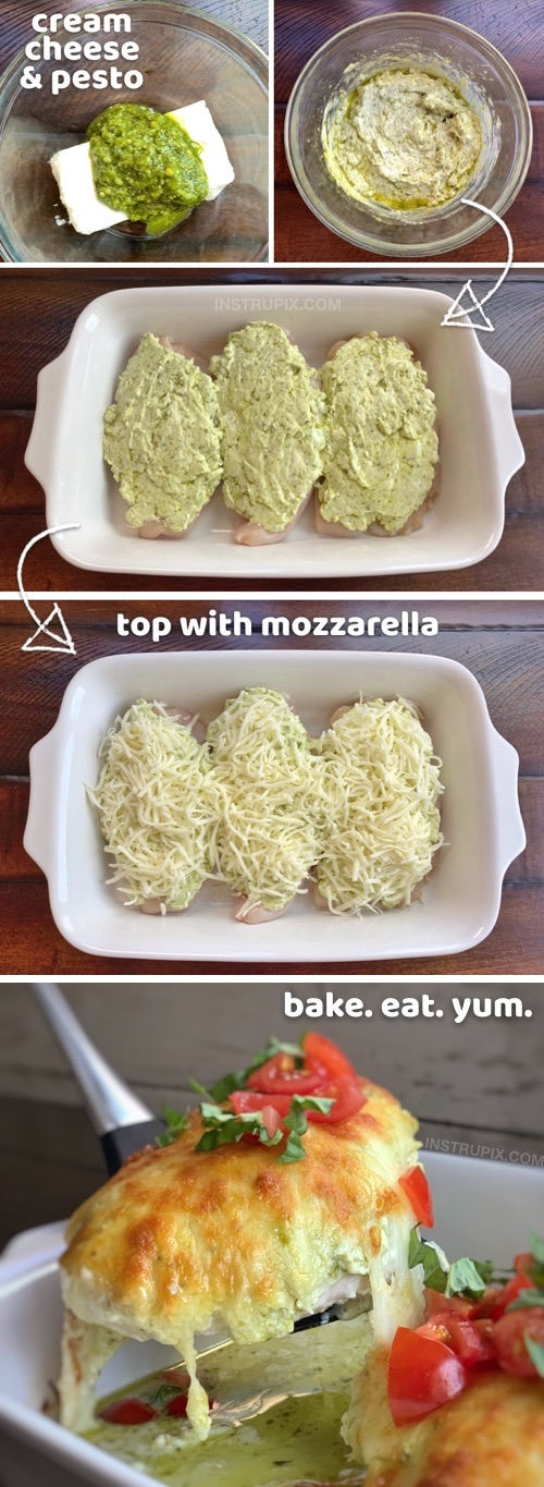 Keto Oven Baked Cheesy Pesto Chicken Recipe | A quick and easy low carb dinner recipe made with chicken, cream cheese, pesto and mozzarella! Simple ingredients that the entire family will love. Keto and low carb-- just serve it with cauliflower rice! #instrupix #chicken #keto #lowcarb